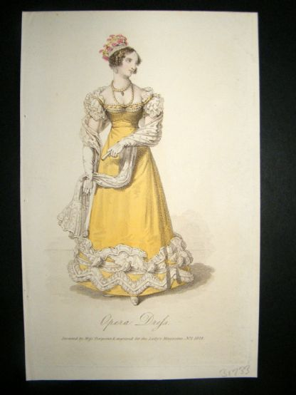 Lady's Magazine 1823 H/Col Regency Fashion Print. Opera Dress 40 | Albion Prints
